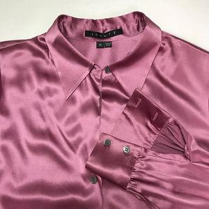 Theory Silk Blend Stretch Button-Down Blouse